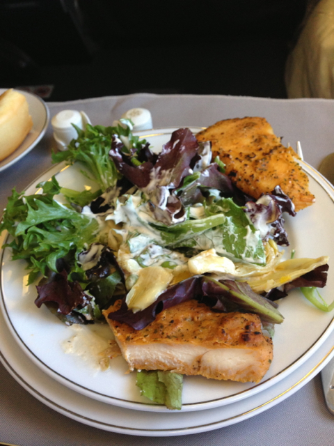 Salad with creamy peppercorn dressing and chicken.